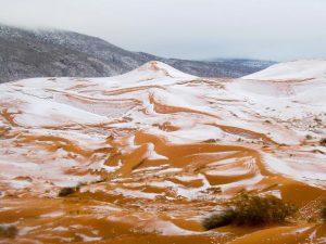 Gurun Sahara Diliputi Salji Selama Sehari Tahun 2016